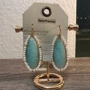 NWT Anthropologie stone pearl earrings